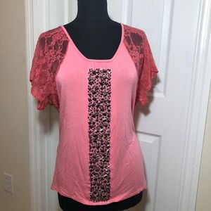 Daytrip Lace Sleeves Bead Embellished Top Large